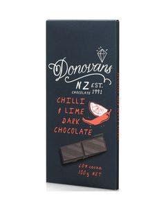 Donovans chilli & lime dark chocolate bar 100g