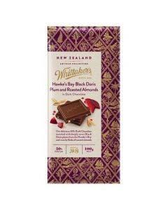 Whittakers hawkes black doris plum & roasted almond dark chocolate 100g